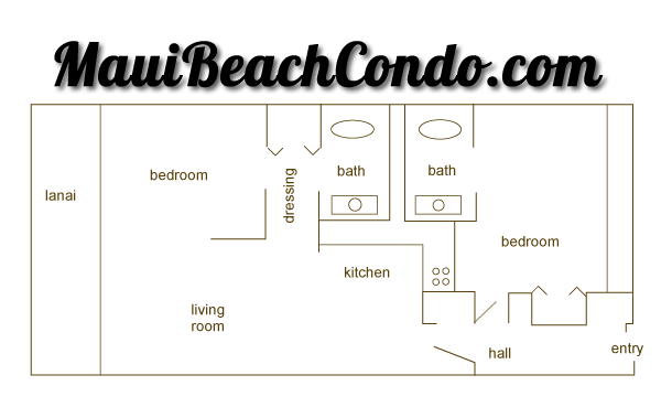 MauiBeachCondo.com - Floorplan Unit #411